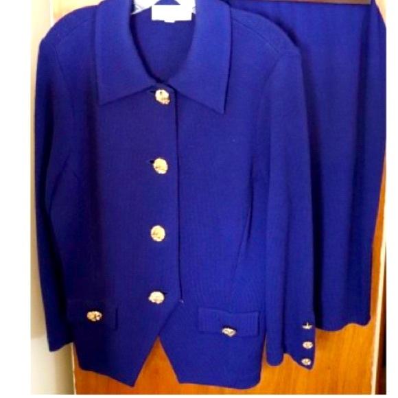 St. John Royal Blue Skirt Suit